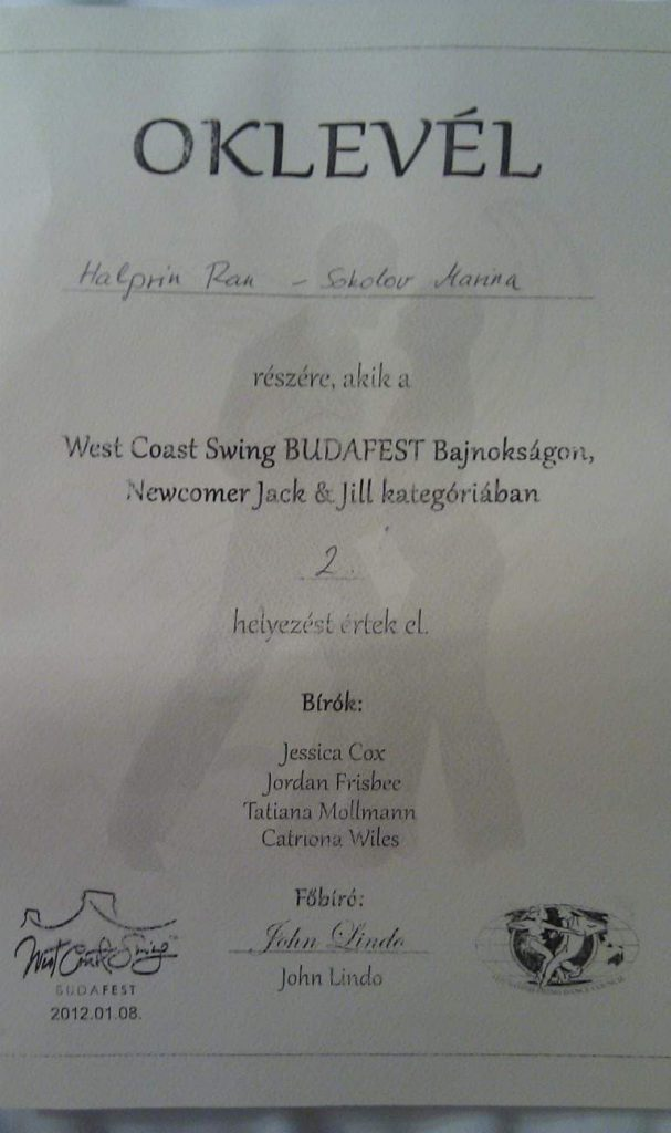 The certificate Ran Halperin received for winning the 2nd place in Newcomer J&J at Budafest 2012