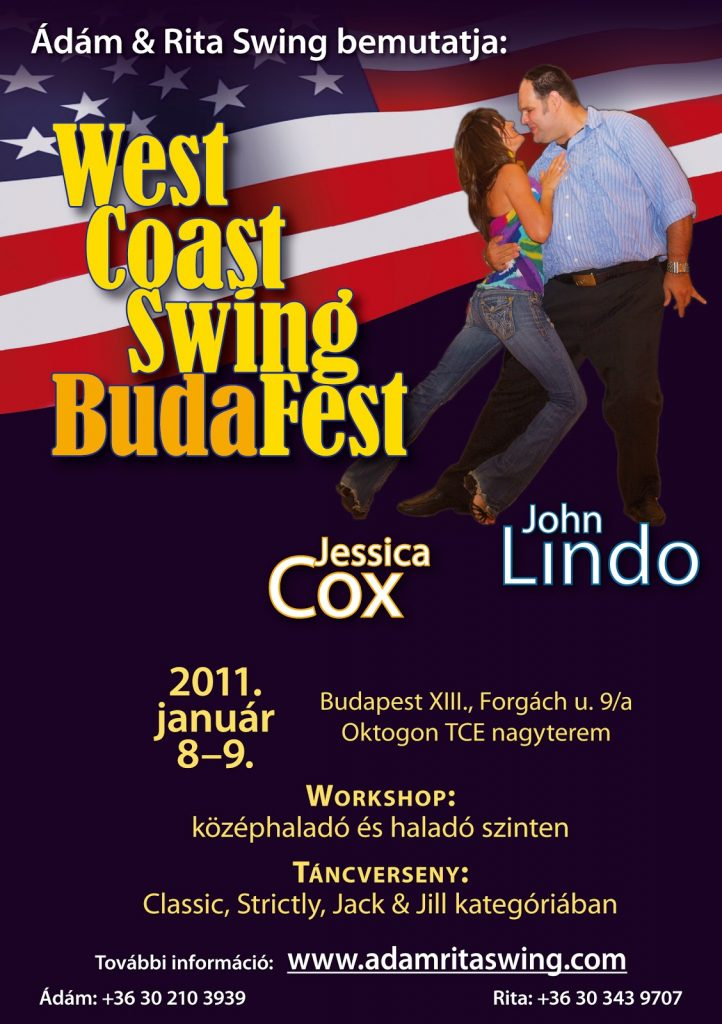 The poster of the first Budafest featuring John Lindo and Jessica Cox